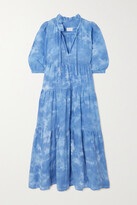 Thumbnail for your product : HONORINE Giselle Tiered Tie-dyed Cotton Dress - Blue