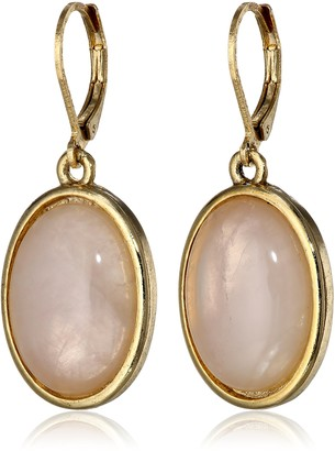 "1928 Jewelry Semi-Precious Collection"" 14k Gold Dipped Rose Quartz Pink Oval Drop Earrings"