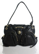 Botkier Black Leather Gold Tone Hardware Small Shoulder Handbag