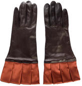 Neiman Marcus Pleated Leather Gloves