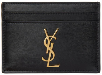 Saint Laurent Black Leather Monogramme Card Holder