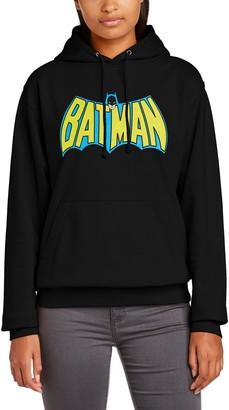 Dc Comics Women's Official Batman Retro Logo Hooded Sweatshirt Hoodie