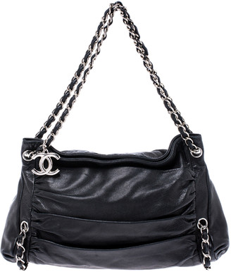 Chanel Black Pleated Leather Chain Shoulder Bag