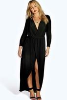 Boohoo Plus Zoe Slinky Wrap Front Maxi Dress black