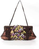 Santi Brown Satin Sequin Knit Detail 2 Pocket Clutch Handbag