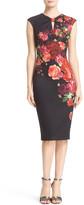 Ted Baker 'Mirrie - Juxtapose Rose' Print Knot Detail Sheath Dress