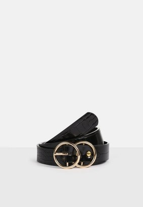 Missguided Gold Double Ring Croc Hip Belt