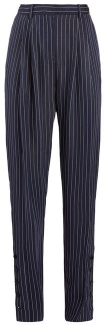 Altuzarra Lidig High Rise Pinstriped Twill Trousers - Womens - Navy Stripe