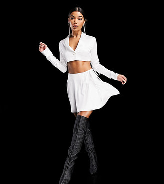 ASYOU wrap skirt with tie waist in ivory