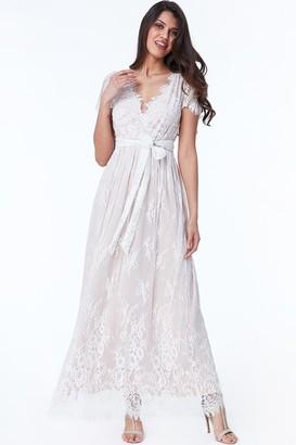 Goddiva White Scalloped Hem Lace Maxi Dress