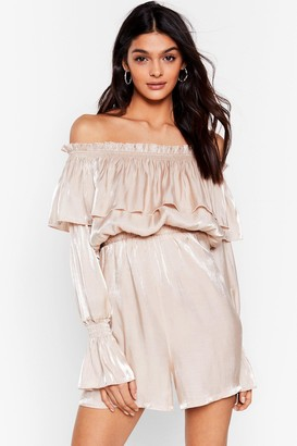 Nasty Gal Womens Heart of Glass Shimmer Off-the-Shoulder Romper - Champagne