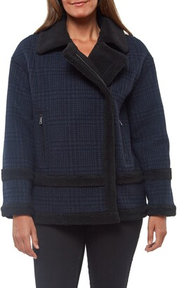 Sanctuary Plaid Wool Blend Coat with Faux Shearling Trim
