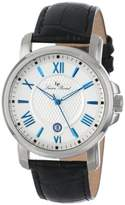 Lucien Piccard Men's LP-12358-023S Cilindro Silver Textured Dial Black Leather Watch