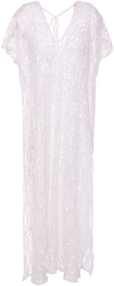 SUNDRESS Coco Open-back Sequined Lace Coverup