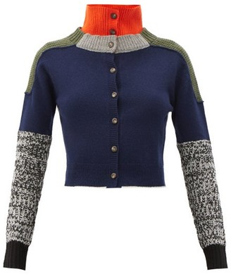 Preen by Thornton Bregazzi Trevi Panelled Wool-blend Cardigan - Grey Multi
