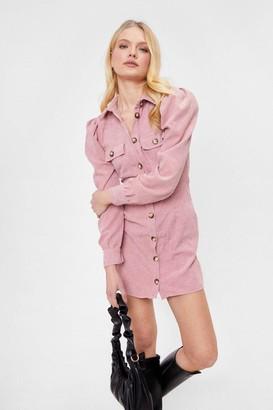 Nasty Gal Womens Ac-cord-ing to Plan Corduroy Shirt Dress - Rose