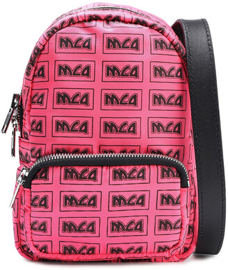 McQ Leather-trimmed Logo-print Shell Backpack