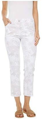 Elliott Lauren Fine Lines Floral Printed Five-Pocket Jeans in White/Camel (White/Camel) Women's Jeans