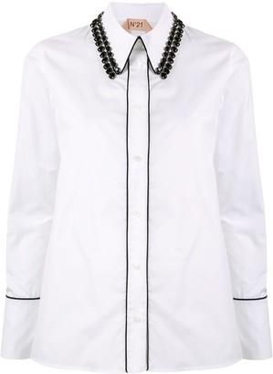 No.21 beaded collar shirt