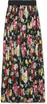 Dolce & Gabbana Pleated Floral-print Silk-chiffon Midi Skirt - Black