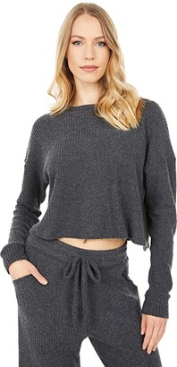 Beyond Yoga Waffle Knit Brushed Up Cropped Pullover (Charcoal) Women's Clothing
