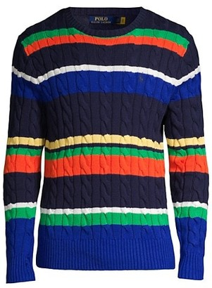 Polo Ralph Lauren Multicolor Striped Cable-Knit Sweater