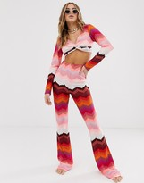Asos Design DESIGN knitted pink jersey chevron flare beach pants two-piece
