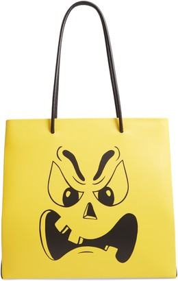Moschino Pumpkin Face Leather Tote