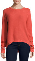 Miss Me Long-Sleeve Crochet-Inset Sweater, Coral