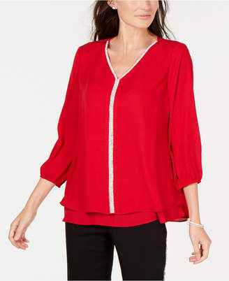 JM Collection Petite Layered-Look Embellished Top