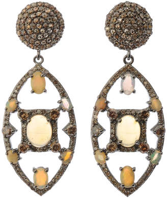 Bavna Black Silver Marquise Drop Earrings with Compressed Opal & Diamonds