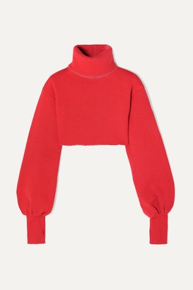 Orseund Iris Distressed Cropped Ribbed-knit Turtleneck Sweater - Red