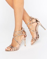 Faith Lizzie Rose Gold Strappy Heeled Sandals