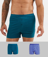 Asos Design ASOS DESIGN 2 pack jersey boxers in blue and teal save