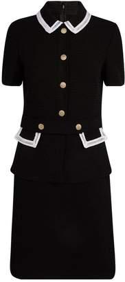 St. John Short Sleeve Tweed Knit Dress