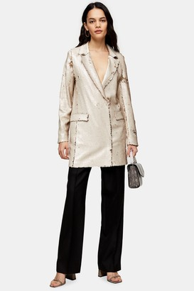 Topshop Womens Ivory Sequin Blazer Dress - Ivory