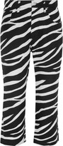 Junya Watanabe Cropped zebra-print linen flared pants