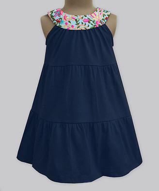 A.T.U.N. Girls' Casual Dresses navy - Navy Fresh Bloom Embroidered Yoke Dress - Infant, Toddler & Girls