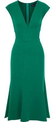 Oscar de la Renta Fluted Wool-blend Crepe Midi Dress