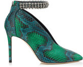 Jimmy Choo LUX 100 Bottle Green and Pop Green Matt Painted Python Booties with Crystal Anklet
