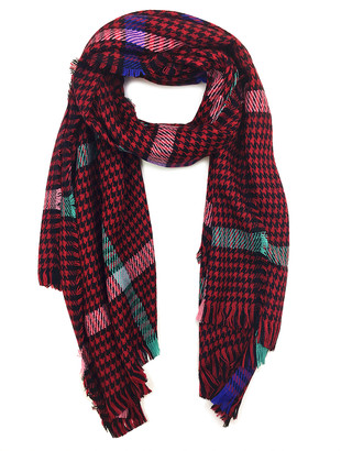 East Cloud Women's Accent Scarves Red - Red & Black Houndstooth Scarf