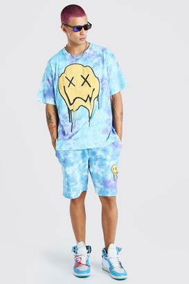 boohoo Mens Blue Loose Fit Tie-dye Drip Face T-Shirt And Short Set, Blue
