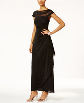 MSK Glitter Illusion Faux-Wrap Gown