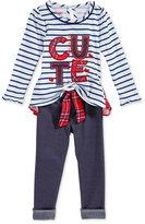 Nannette Baby Girls' 2-Pc. Cute Striped T-Shirt & Leggings Set