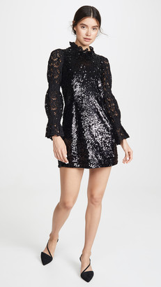 Sea Sequined Long Sleeve Dress