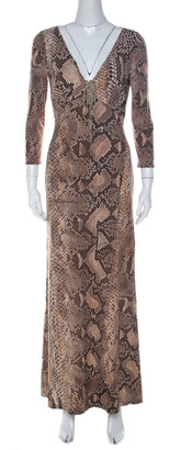 Roberto Cavalli Brown Python Print Front Lace Detail Maxi Dress M