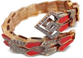 Pink Gold Spiral Double Snake Bracelet w/ Diamonds & Salmon Pink Enamel