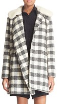 See by Chloe Women's Faux Shearling Trim Buffalo Plaid Coat