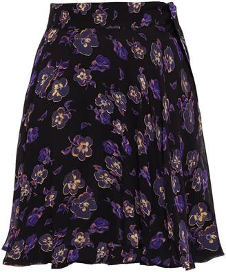 Ganni Tie-detailed Floral-print Georgette Mini Dress
