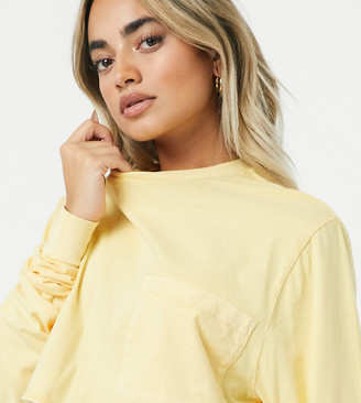ASOS DESIGN Petite super crop T-shirt with pocket in washed straw